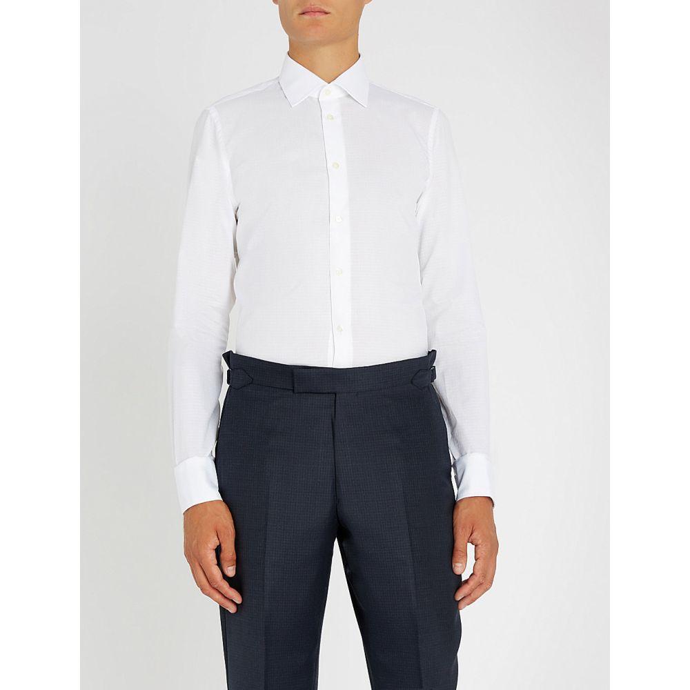 リチャード ジェームス richard james メンズ トップス シャツ【dotted slim-fit cotton shirt】White
