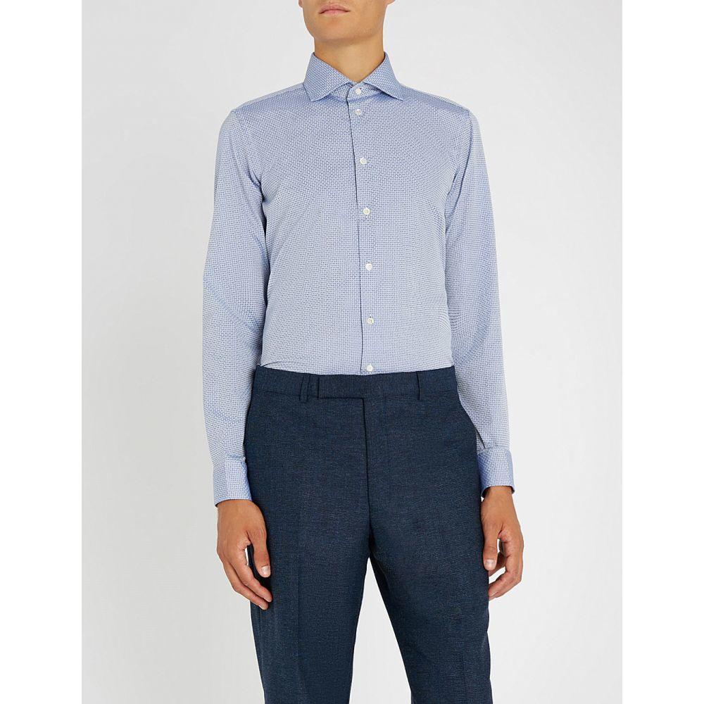 リチャード ジェームス richard james メンズ トップス シャツ【optic spot-pattern slim-fit cotton shirt】Royal blue