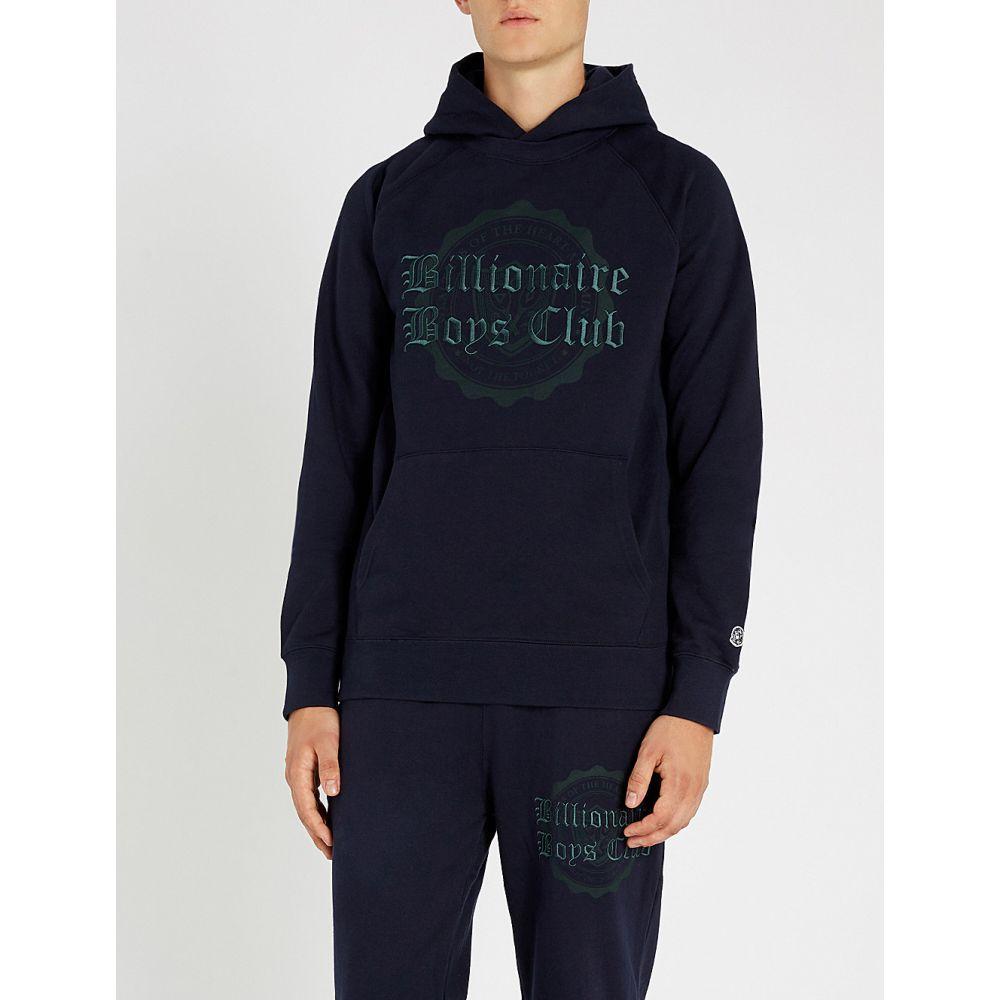 ビリオネアボーイズクラブ billionaire boys club メンズ トップス パーカー【college logo-embroidered cotton-jersey hoody】Navy