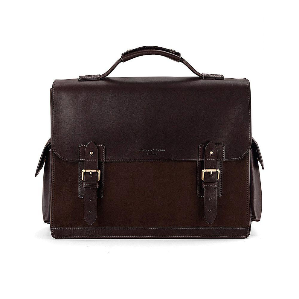 アスピナル オブ ロンドン aspinal of london メンズ バッグ ビジネスバッグ・ブリーフケース【shadow leather and nubuck briefcase】Brown