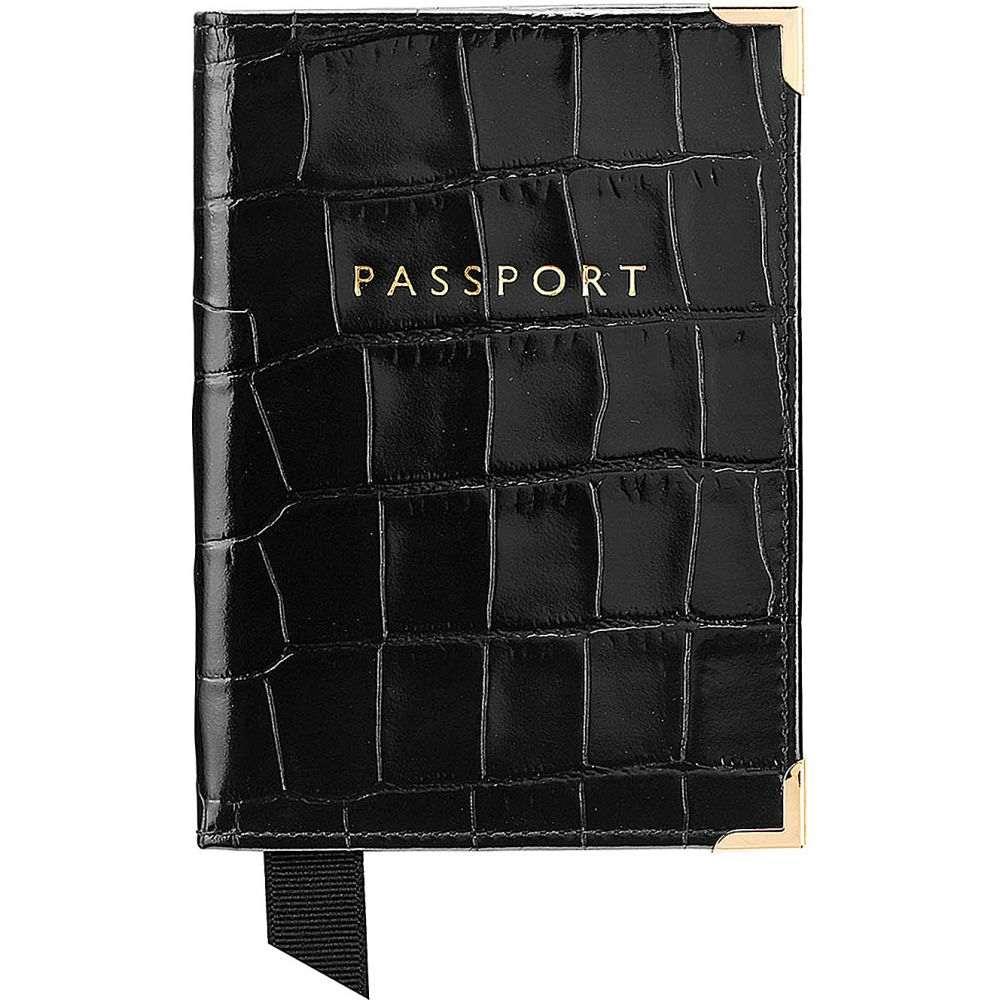 アスピナル オブ ロンドン aspinal of london メンズ パスポートケース【crocodile effect leather passport cover】Black