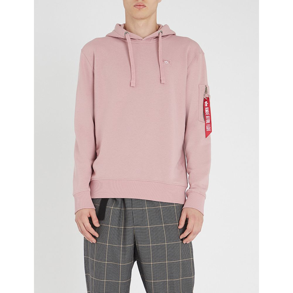 アルファ インダストリーズ alpha industries メンズ トップス パーカー【logo-embellished cotton-jersey hoody】Silver pink