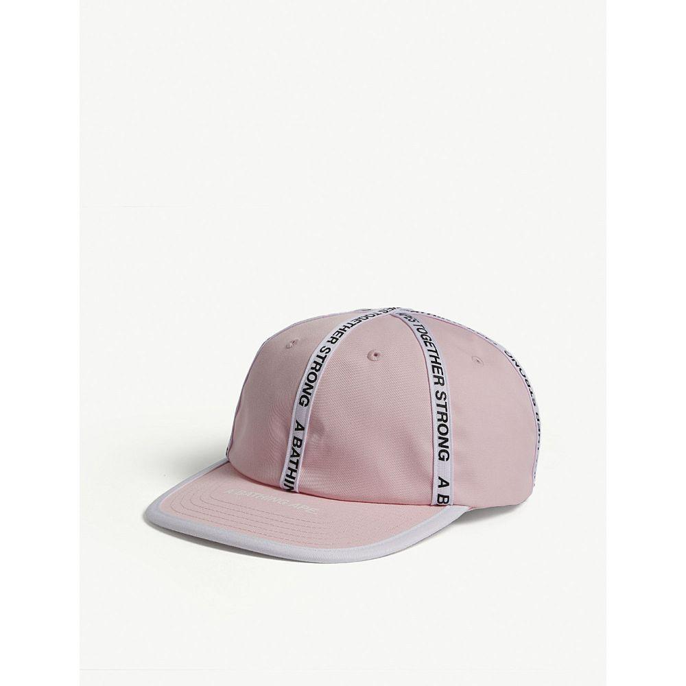 ア ベイシング エイプ a bathing ape メンズ 帽子 キャップ【tape panel cotton-blend strapback cap】Pink