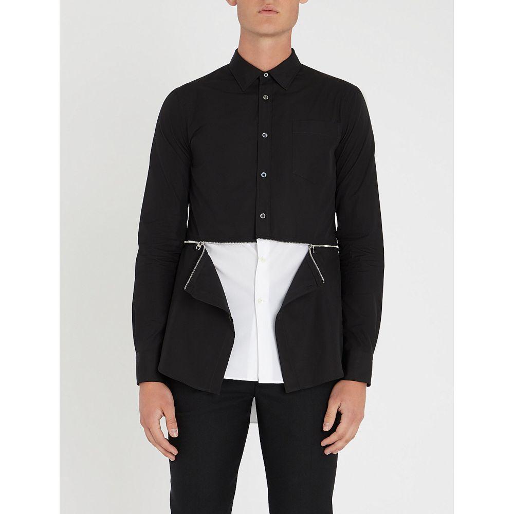 アレキサンダー マックイーン alexander mcqueen メンズ トップス シャツ【zip-waist regular-fit cotton-poplin shirt】Black white