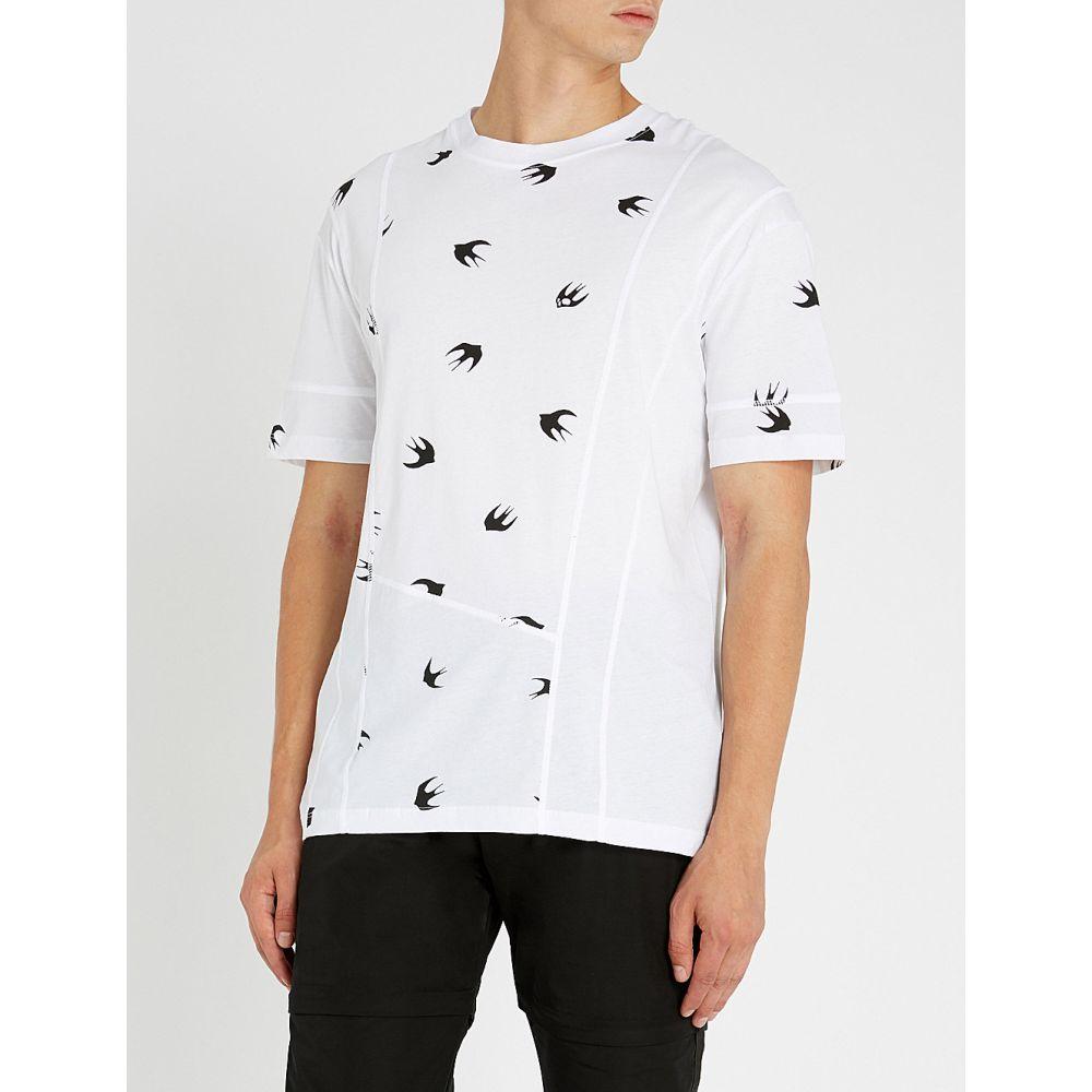 アレキサンダー マックイーン mcq alexander mcqueen メンズ トップス Tシャツ【swallow-print cotton-jersey t-shirt】Optic white