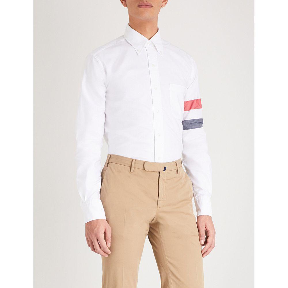 トム ブラウン thom browne メンズ トップス シャツ【striped-sleeve cotton classic-fit shirt】White