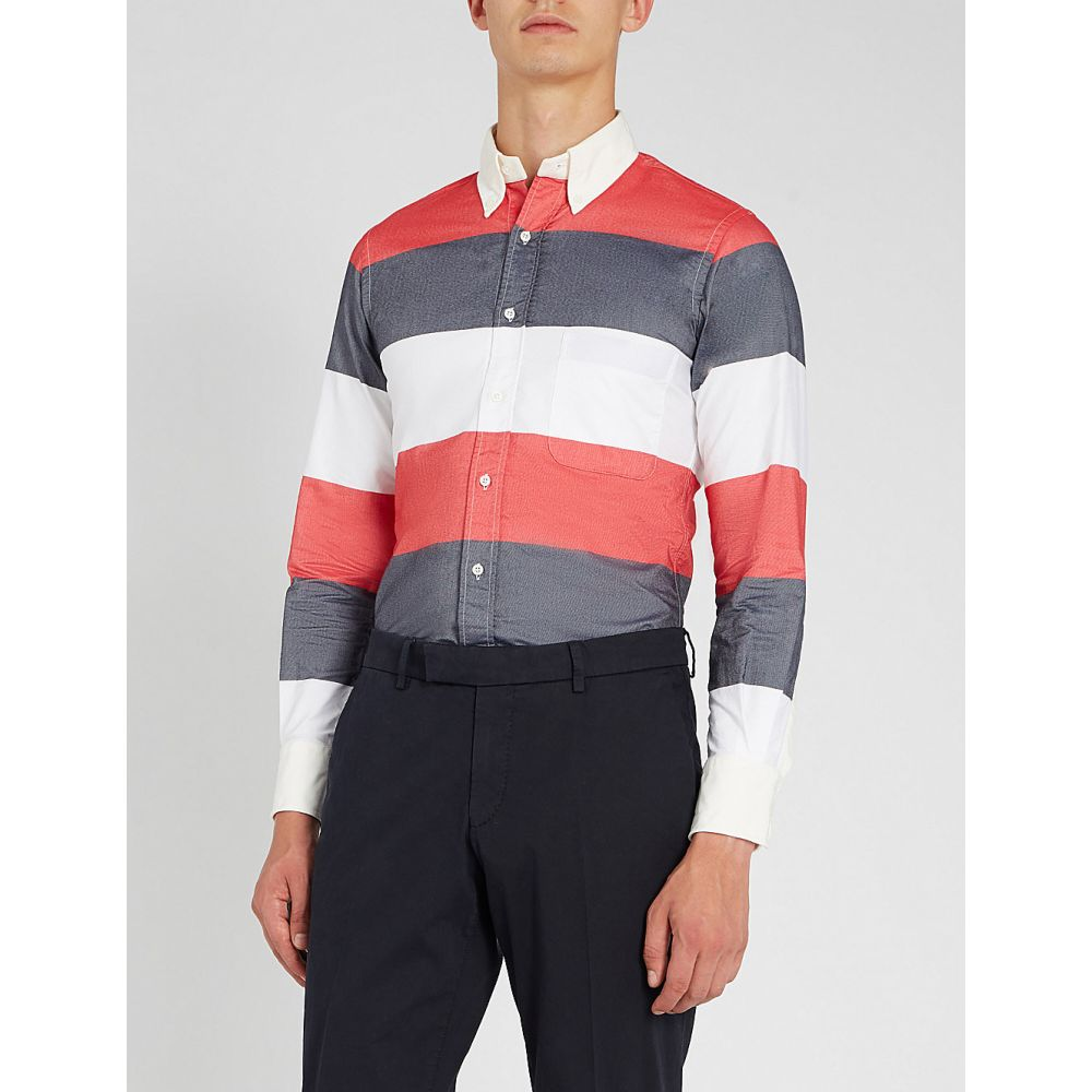 トム ブラウン thom browne メンズ トップス シャツ【colour-block striped cotton shirt】Multicolour