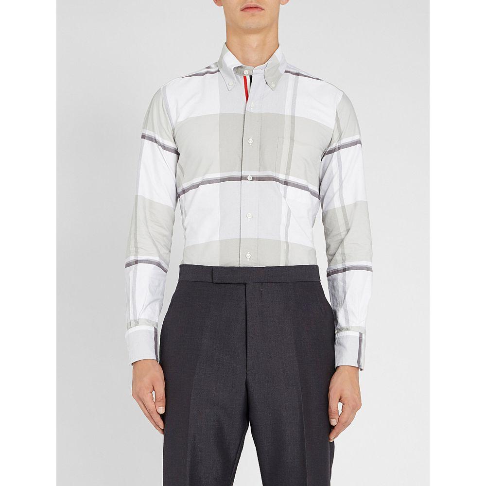 トム ブラウン thom browne メンズ トップス シャツ【checked regular fit cotton-oxford shirt】Med grey