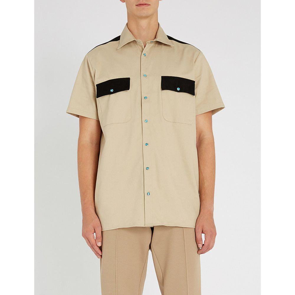 トリプルエス ワールド コープ sss world corp メンズ トップス 半袖シャツ【colour-blocked regular-fit cotton shirt】Safari