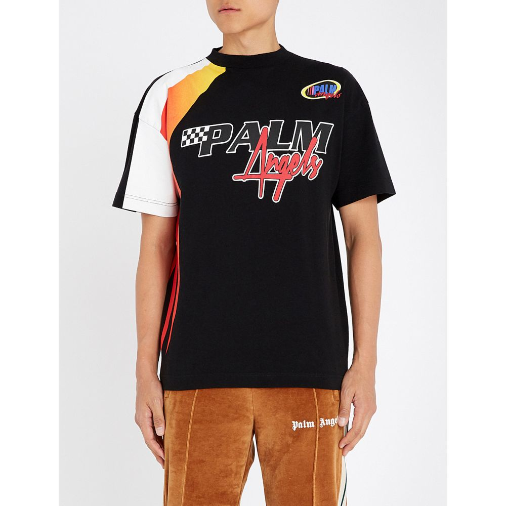 パーム エンジェルス palm angels メンズ トップス Tシャツ【racing cotton-jersey t-shirt】Black multicolour