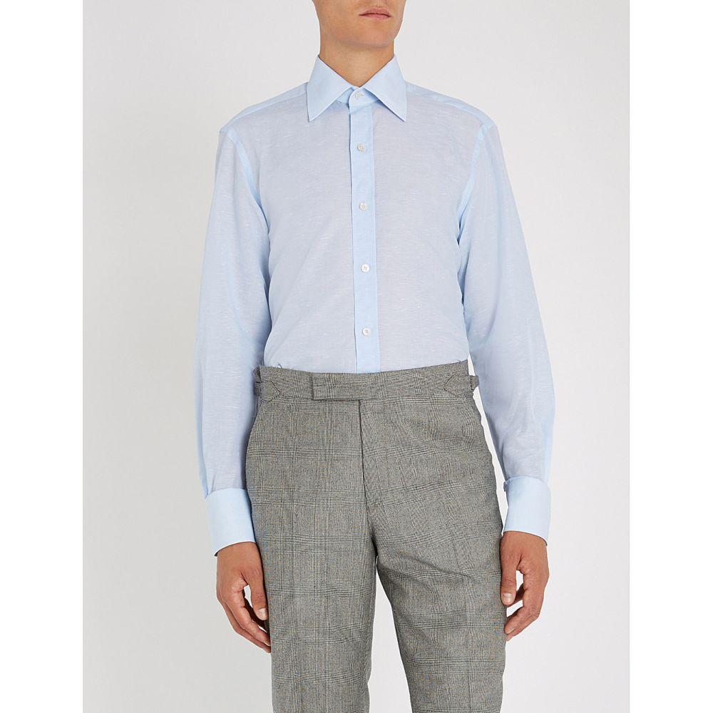 トム フォード tom ford メンズ トップス シャツ【regular-fit cotton and linen-blend shirt】Blue