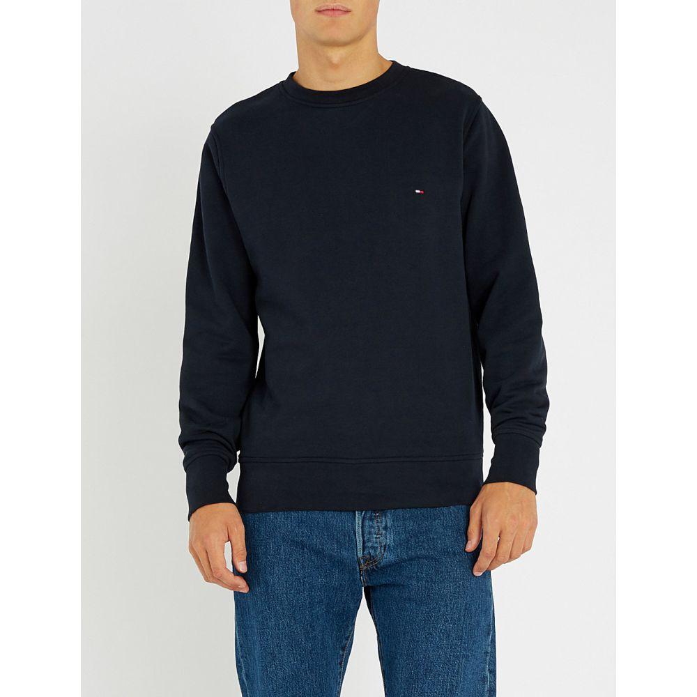 トミー ヒルフィガー tommy hilfiger メンズ トップス Tシャツ【logo-embroidered cotton-jersey t-shirt】Sky captain
