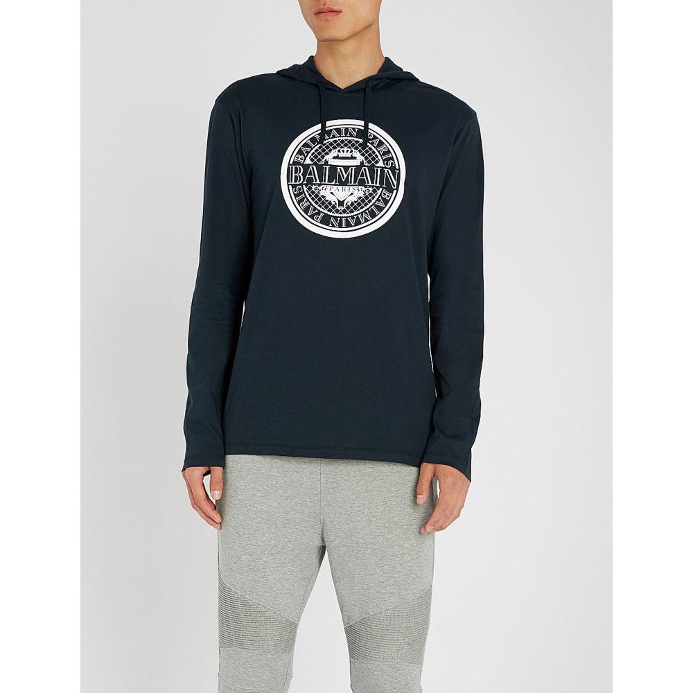 バルマン balmain メンズ トップス パーカー【logo-print cotton-jersey hoody】Marine