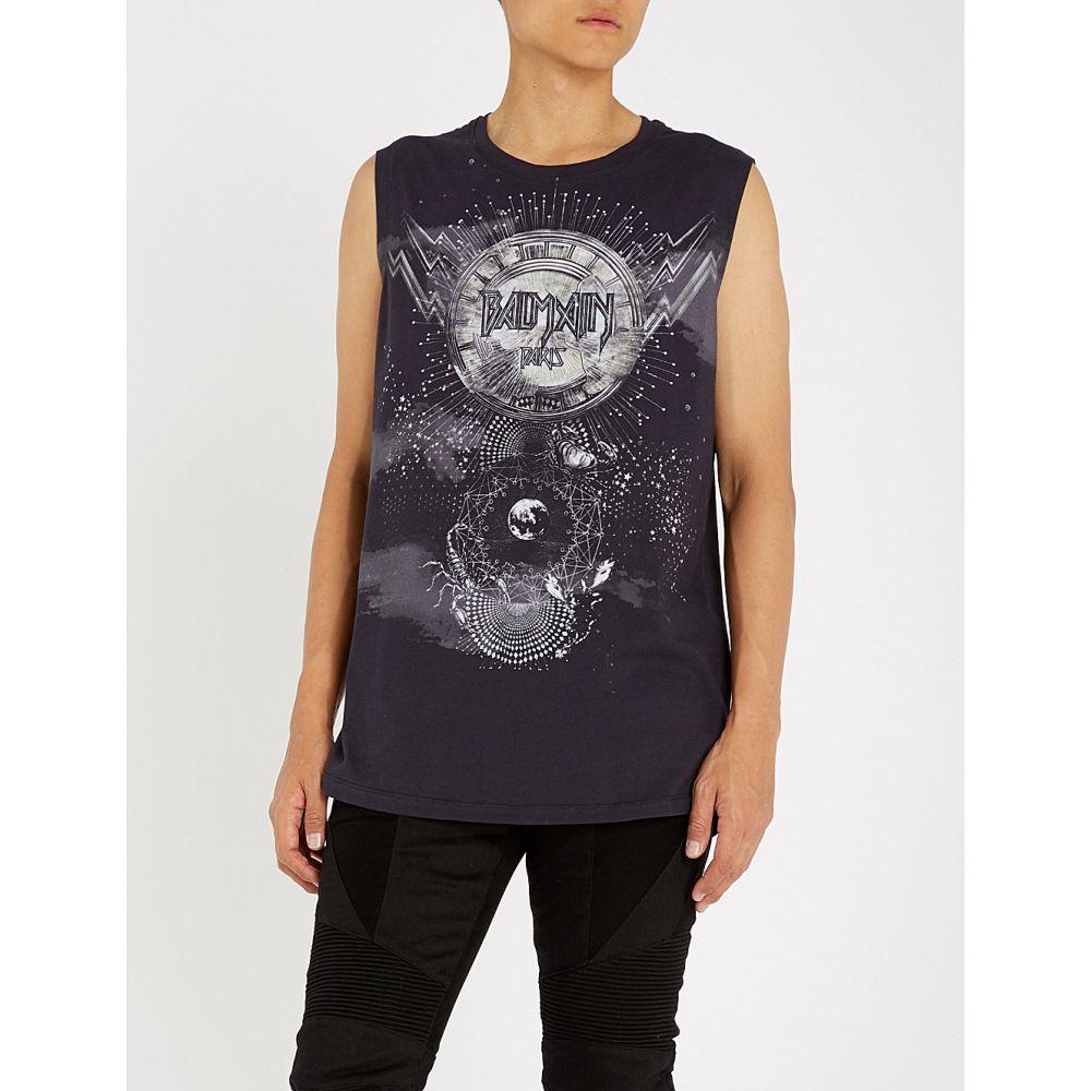 バルマン balmain メンズ トップス タンクトップ【planet-print cotton-jersey vest】Multicolore
