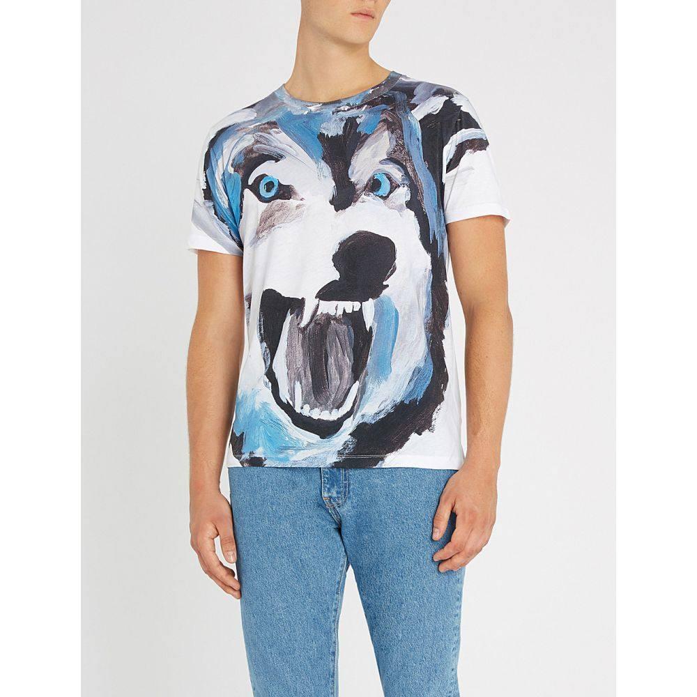 ヒューゴ ボス hugo メンズ トップス Tシャツ【wolf-print cotton-jersey t-shirt】White