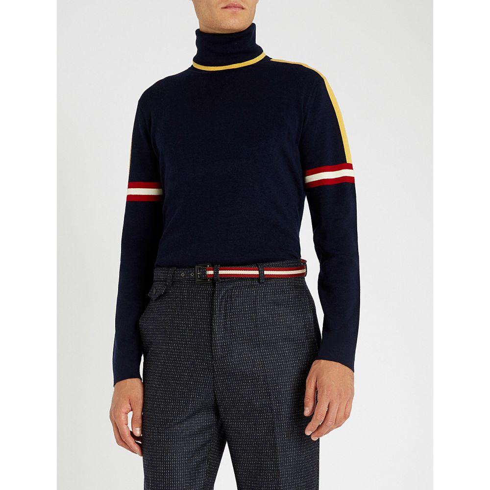 バリー bally メンズ トップス ニット・セーター【stripe-trimmed turtleneck wool jumper】Navy
