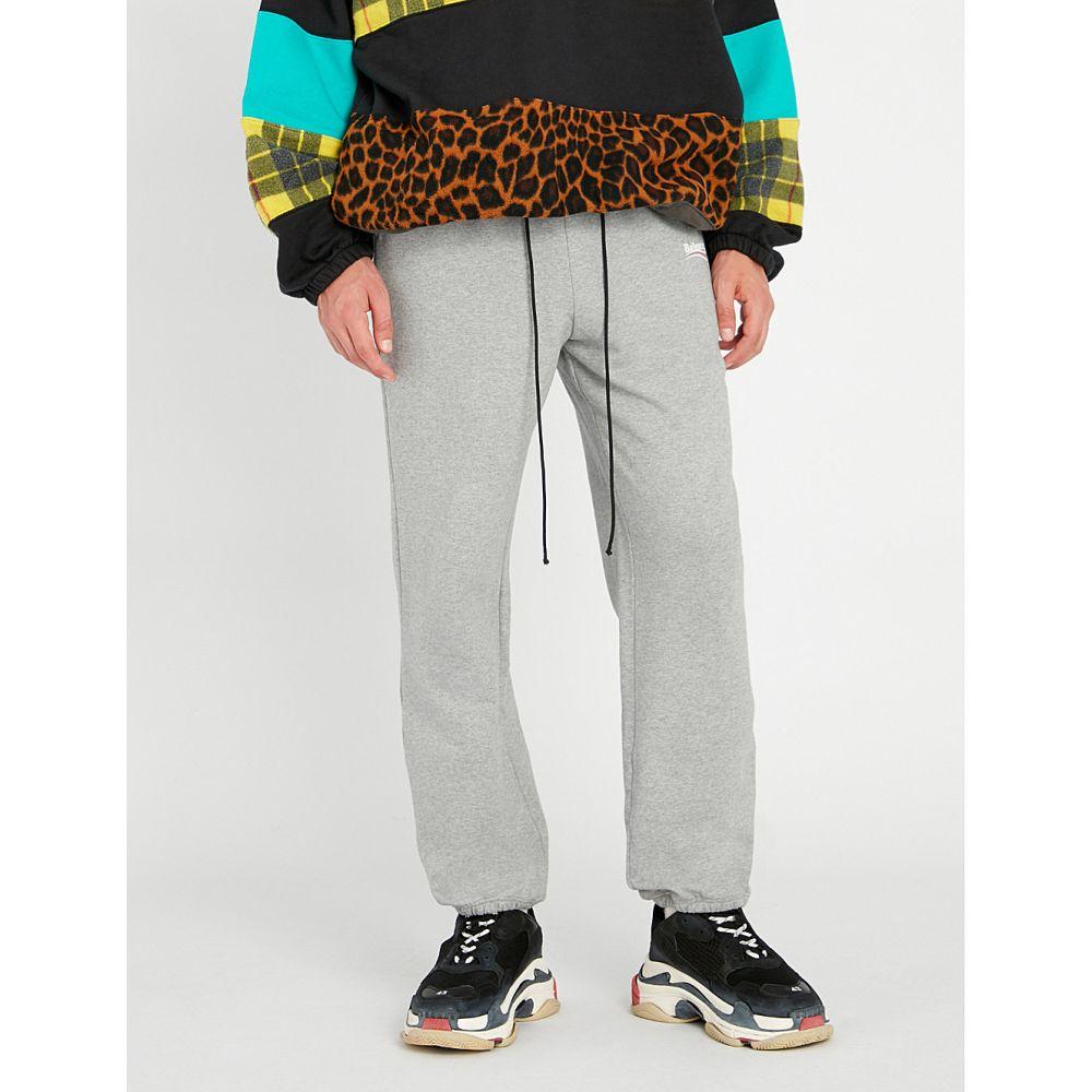バレンシアガ balenciaga メンズ ボトムス・パンツ【campaign logo-print cotton jogging bottoms】Heather grey