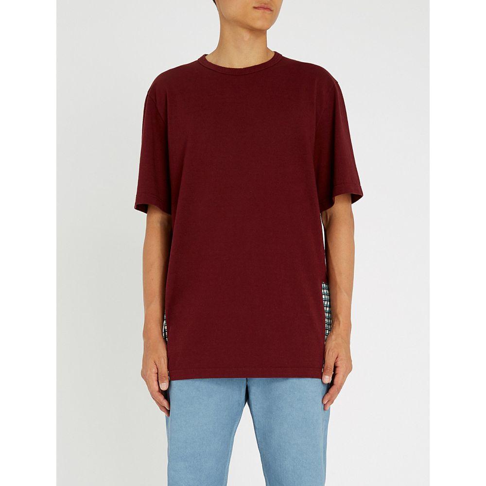 マルニ marni メンズ トップス Tシャツ【checked cotton-jersey t-shirt】Bordeaux green
