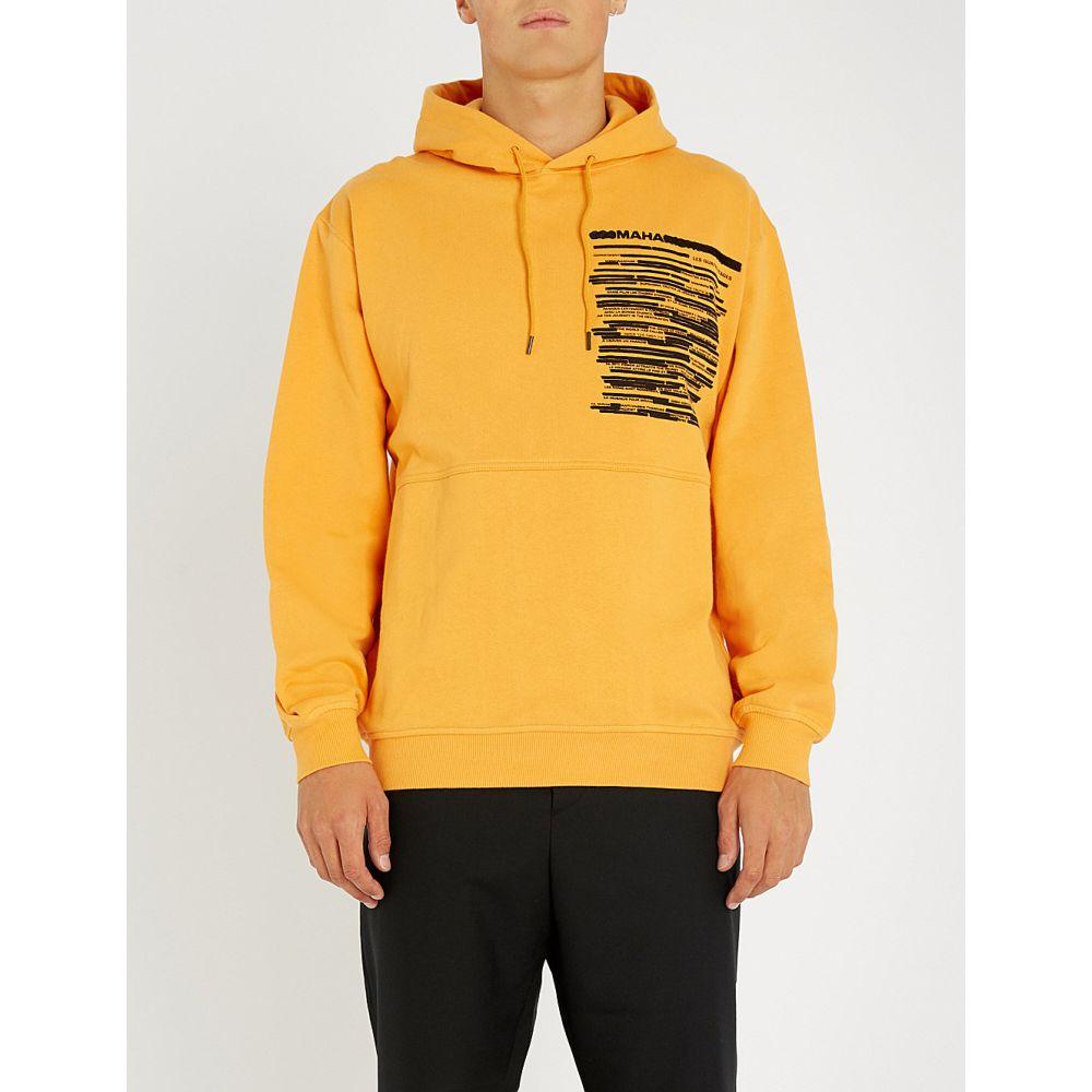 マハリシ maharishi メンズ トップス パーカー【logo-embroidered cotton-jersey hoody】Tron orange