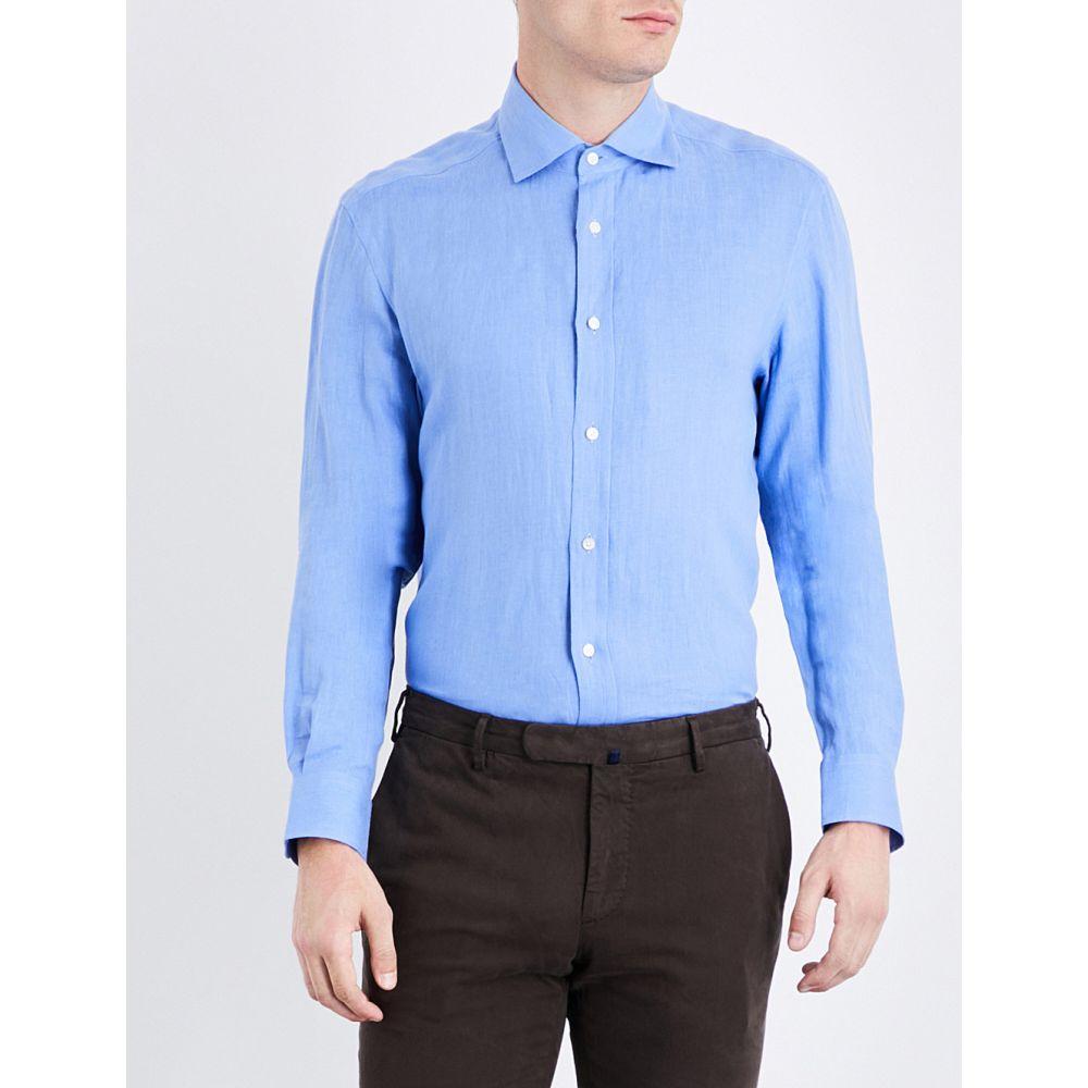 ラルフ ローレン ralph lauren purple label メンズ トップス シャツ【regular-fit linen shirt】Copen blue
