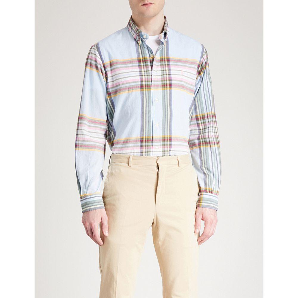 ラルフ ローレン polo ralph lauren メンズ トップス シャツ【checked regular-fit cotton-woven shirt】Sky blue/yellow multi