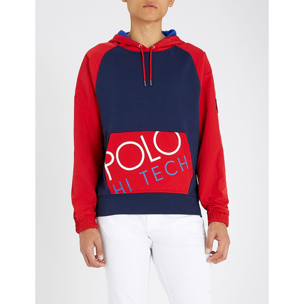 ラルフ ローレン polo ralph lauren メンズ トップス パーカー【hi-tech cotton hoodie】Newport navy/sport red