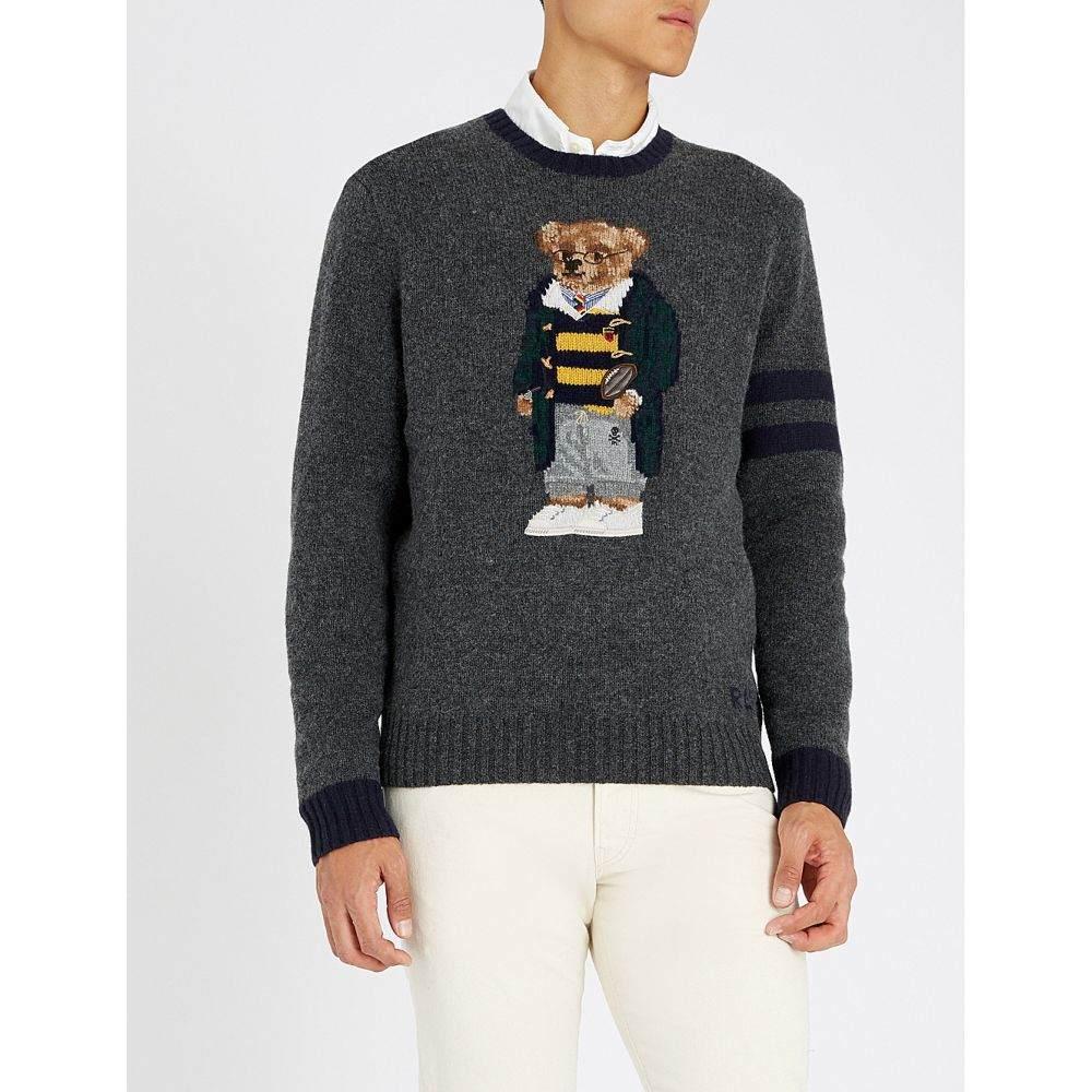 ラルフ ローレン polo ralph lauren メンズ トップス ニット・セーター【bear-embroidered wool jumper】Grey heather