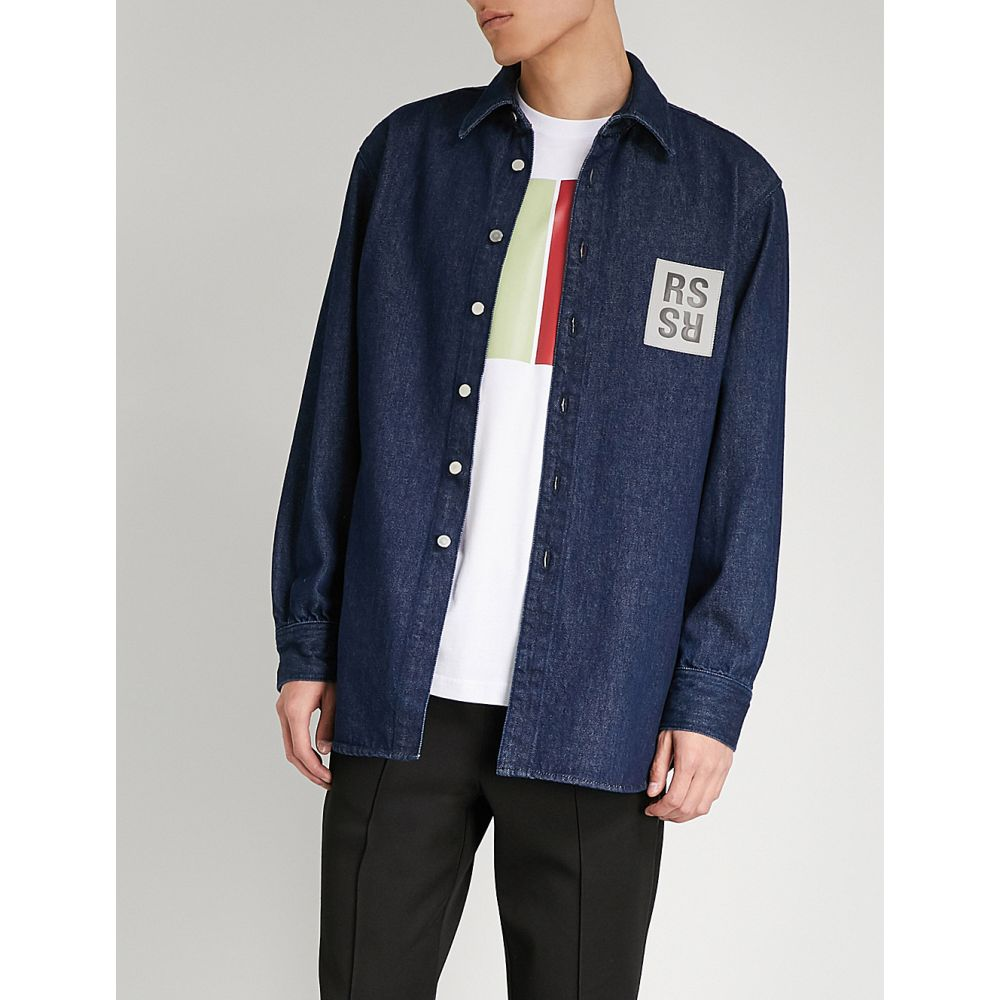 ラフ シモンズ raf simons メンズ トップス シャツ【regular-fit logo-patch denim shirt】Navy
