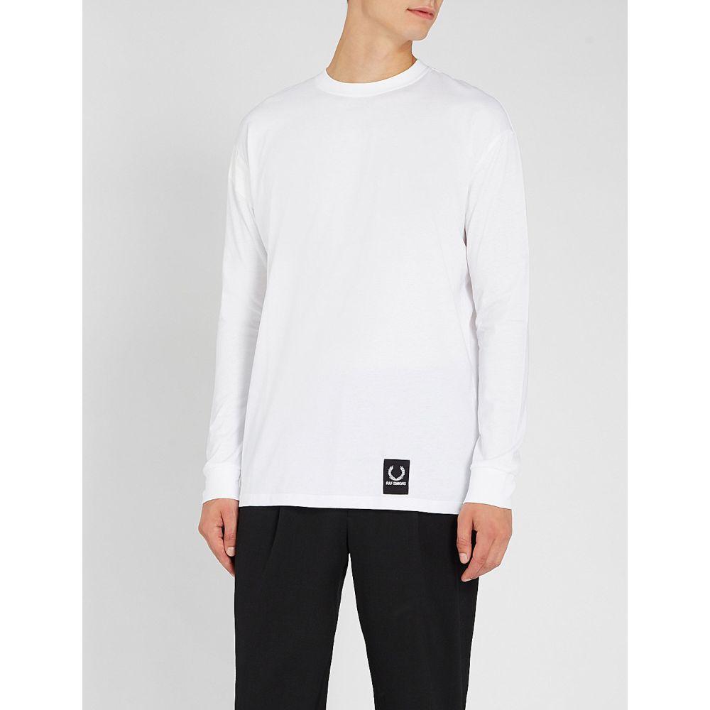 ラフ シモンズ raf simons x fred perry メンズ トップス 長袖Tシャツ【tape-detail cotton-jersey top】White