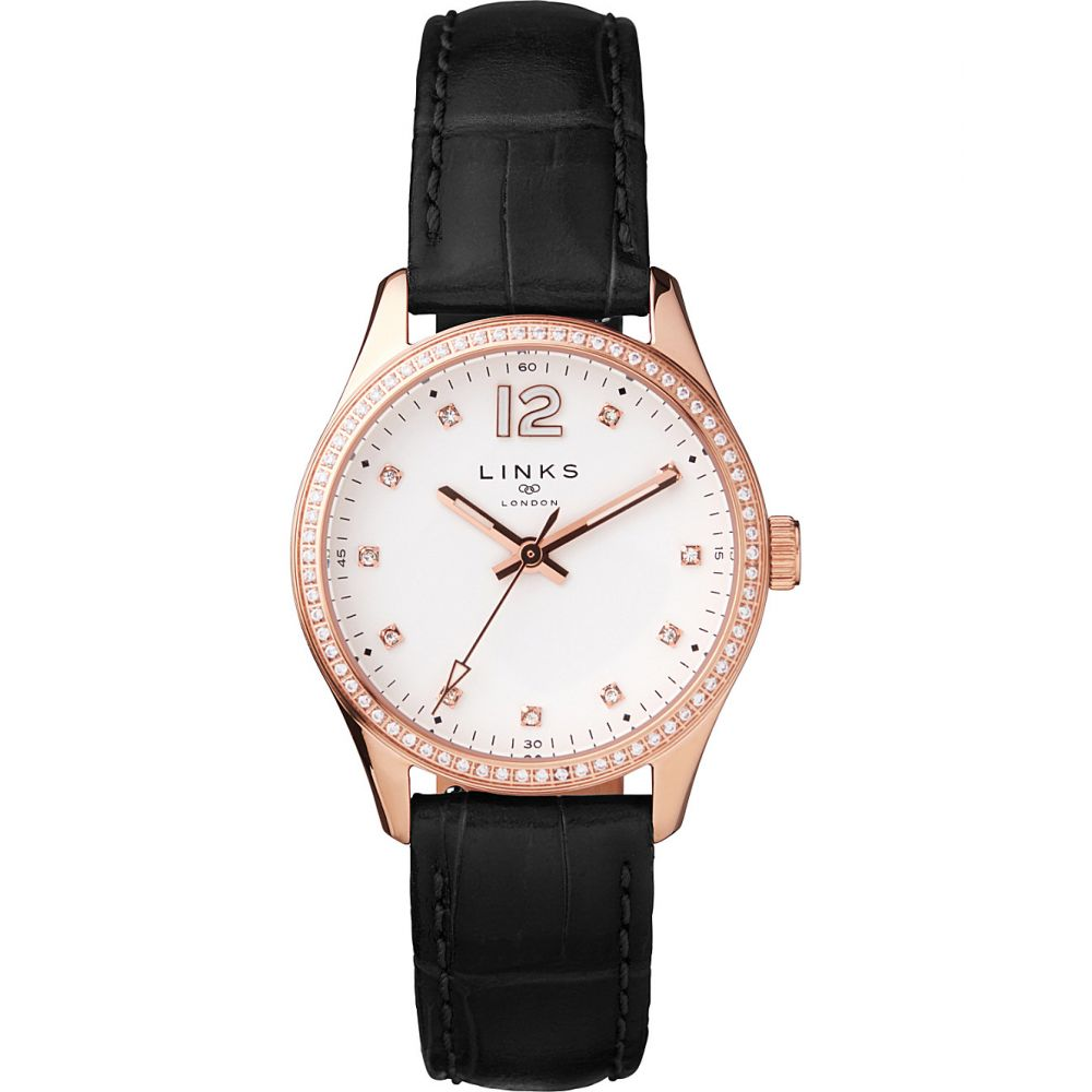 リンクス オブ ロンドン links of london レディース 腕時計【greenwich noon rose gold-toned and leather watch】Black