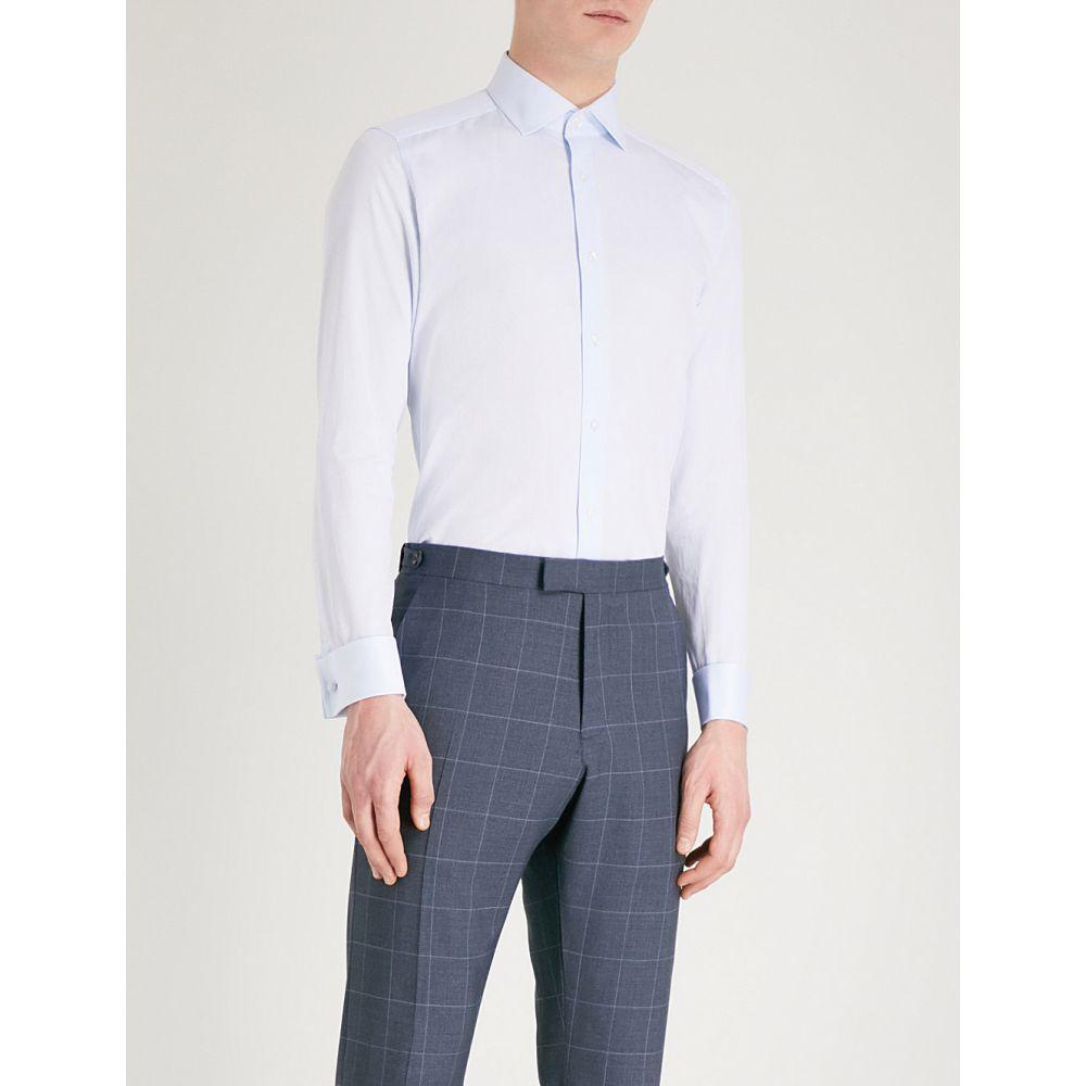 リース reiss メンズ トップス シャツ【detroller slim-fit cotton-twill shirt】Soft blue