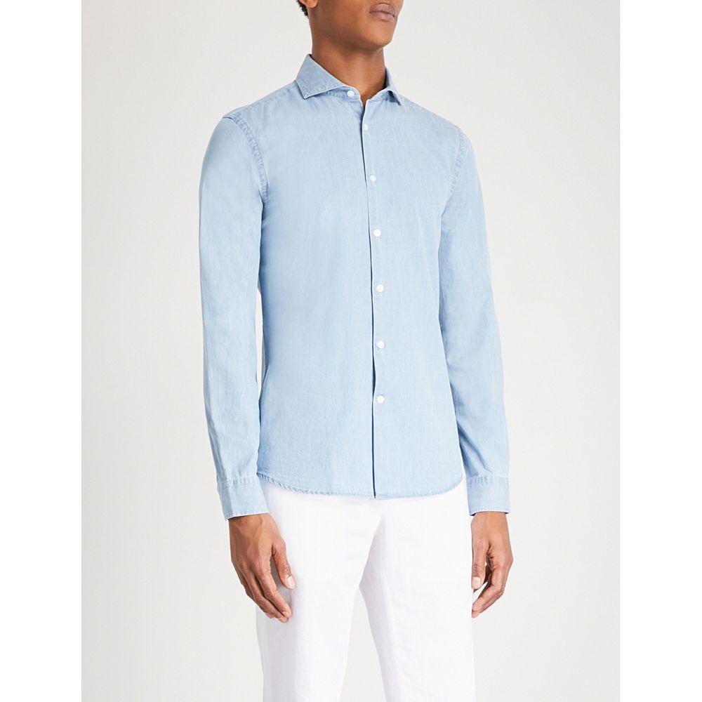 リース reiss メンズ トップス シャツ【draper regular-fit cotton-chambray shirt】Blue