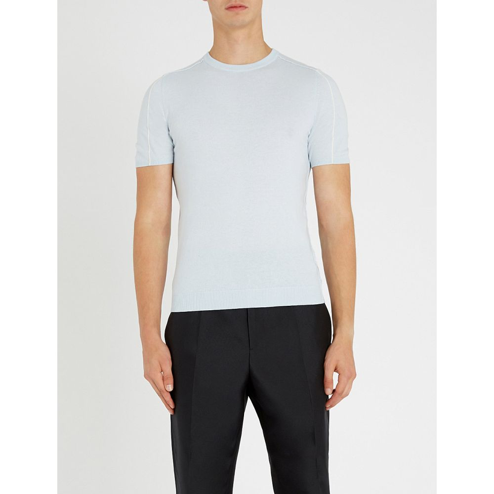 リース reiss メンズ トップス Tシャツ【leven wool and cotton-blend t-shirt】Soft blue
