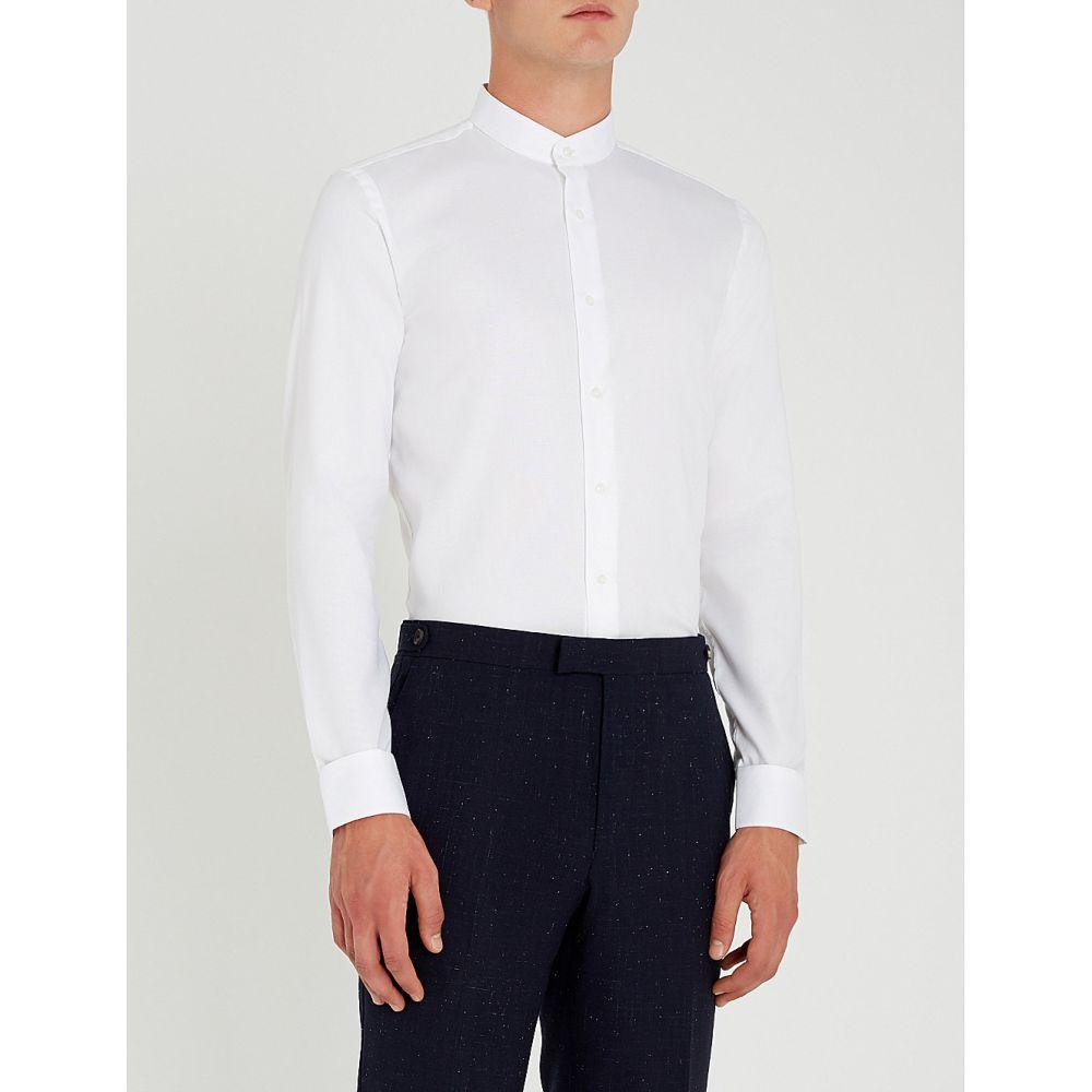リース reiss メンズ トップス シャツ【normandy slim-fit cotton shirt】White