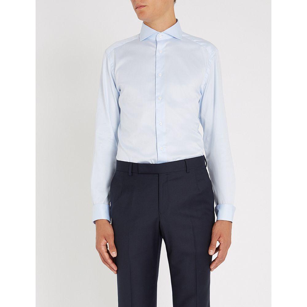 リース reiss メンズ トップス シャツ【storm slim-fit cotton-poplin shirt】Soft blue