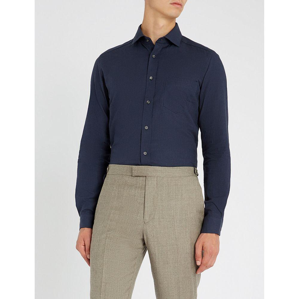 リース reiss メンズ トップス シャツ【zetter slim-fit cotton-melange shirt】Navy