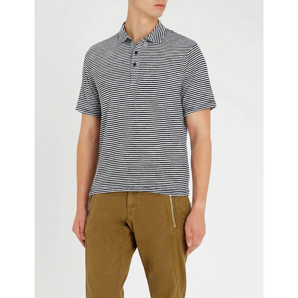 リース reiss メンズ トップス ポロシャツ【hallam striped knitted polo shirt】Navy