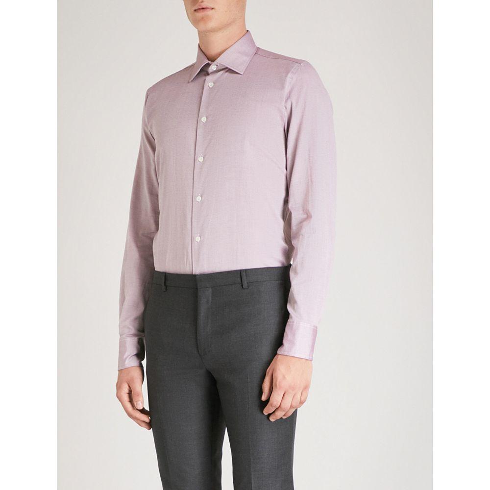 リチャード ジェームス richard james メンズ トップス シャツ【contemporary-fit cotton shirt】Burgundy
