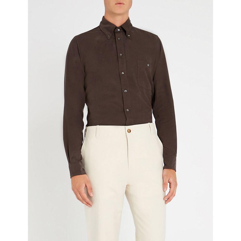 リチャード ジェームス richard james メンズ トップス シャツ【contemporary-fit cotton shirt】Ebony