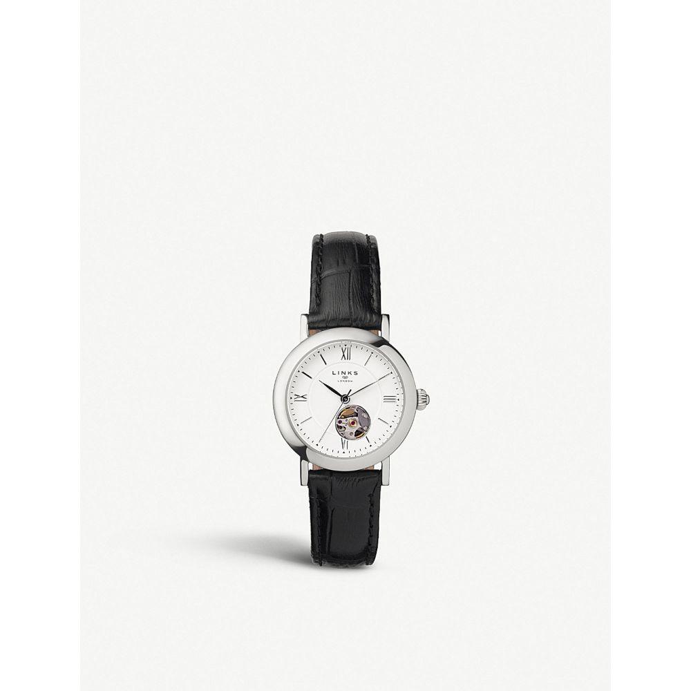 リンクス オブ ロンドン links of london レディース 腕時計【60102693 noble stainless steel and leather strap chronograph watch】Black