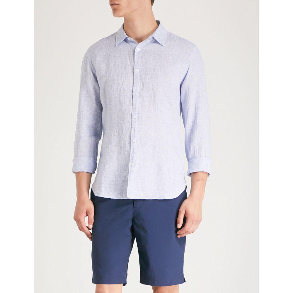 オールバー ブラウン orlebar brown メンズ トップス シャツ【morton tailored-fit linen shirt】Navy