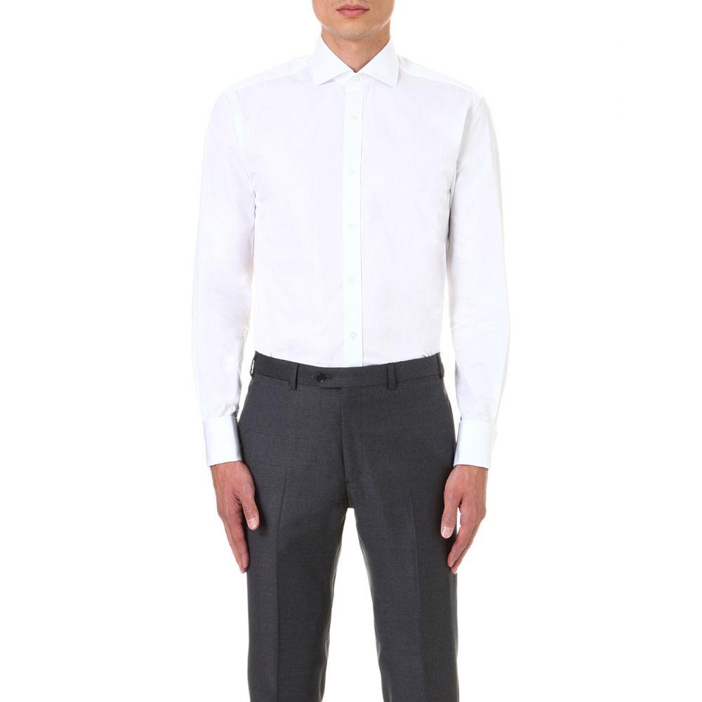 ギーブス アンド ホークス gieves & hawkes メンズ トップス シャツ【tailored-fit cotton shirt】White