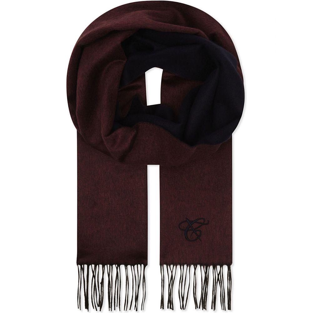 カナーリ canali メンズ マフラー・スカーフ・ストール【two-tone silk & cashmere scarf】Burgundy