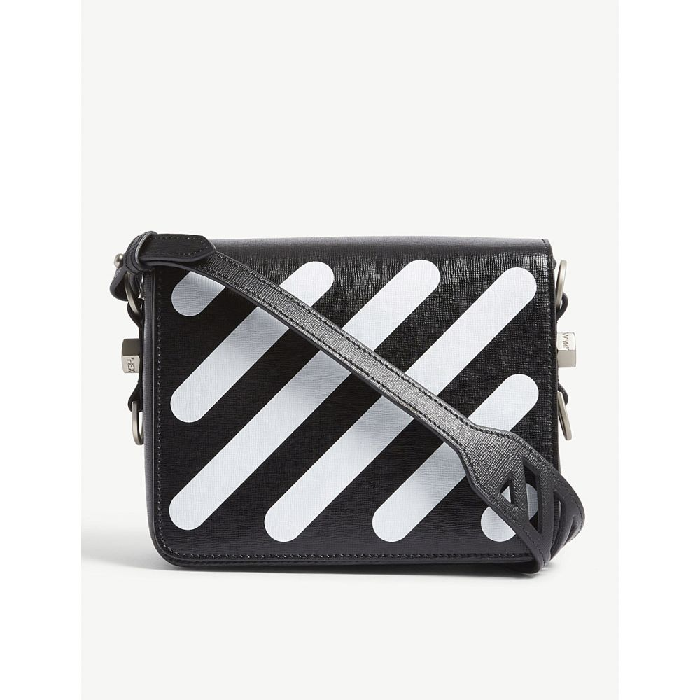 オフホワイト off-white c/o virgil abloh レディース バッグ ショルダーバッグ【diagonal-striped leather shoulder bag】Blk white