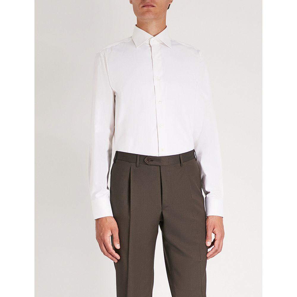 カナーリ canali メンズ トップス シャツ【herringbone modern-fit cotton shirt】Ivory