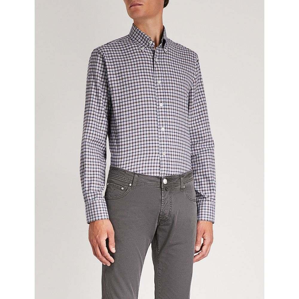 カナーリ canali メンズ トップス シャツ【checked regular-fit cotton shirt】Grey