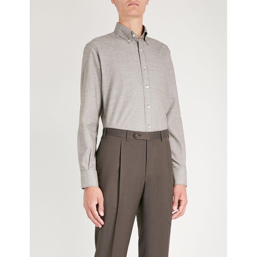 カナーリ canali メンズ トップス シャツ【checked regular-fit cotton shirt】Brown