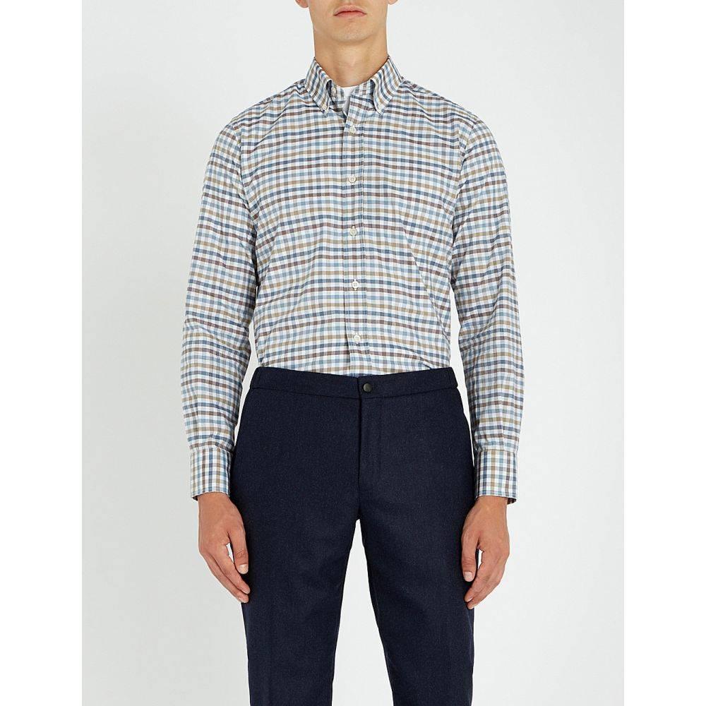 カナーリ canali メンズ トップス シャツ【grid-check cotton shirt】Tan