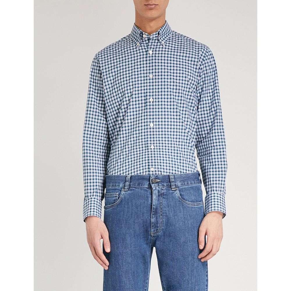 カナーリ canali メンズ トップス シャツ【checked regular-fit cotton shirt】Teal