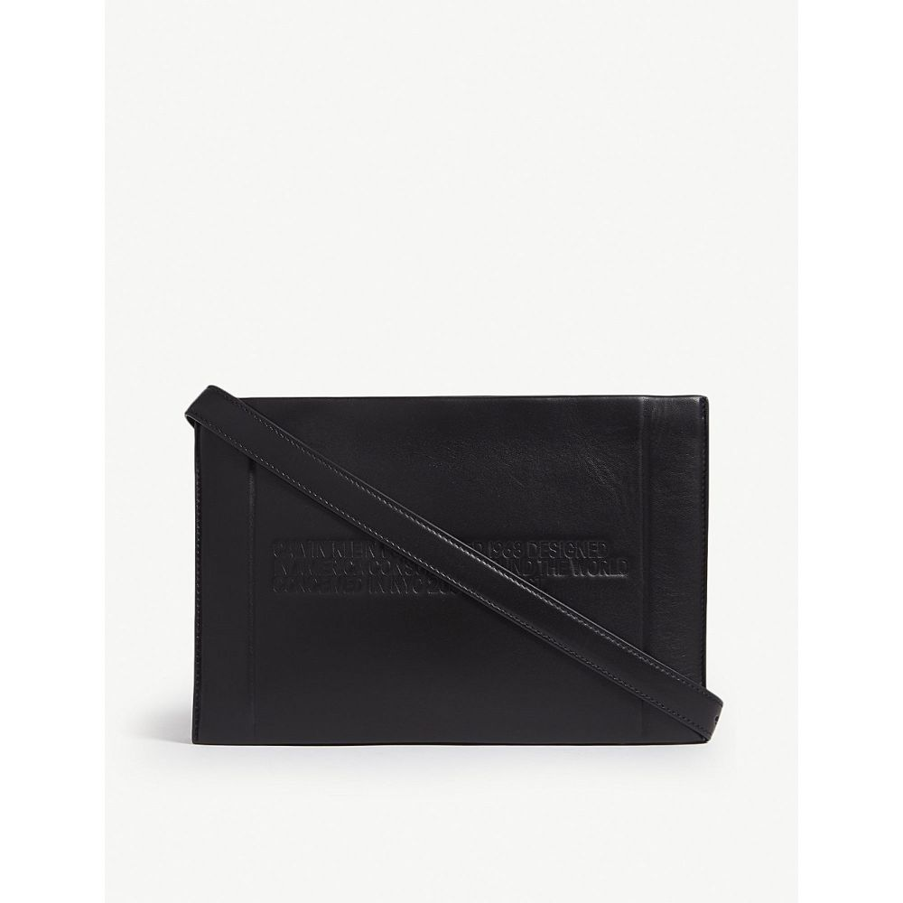 カルバンクライン calvin klein 205w39nyc レディース バッグ ショルダーバッグ【logo-embossed leather cross-body bag】Black